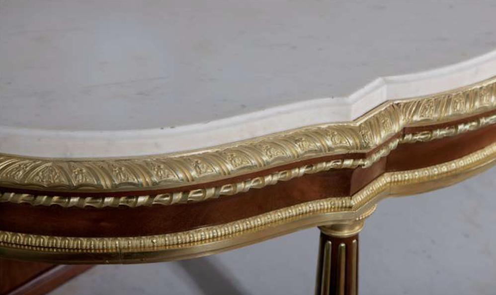 Détails de la console par Weisweiler, découverte par Camille Bürgi, de la galerie Bürgi, datant du XVIIIe siècle